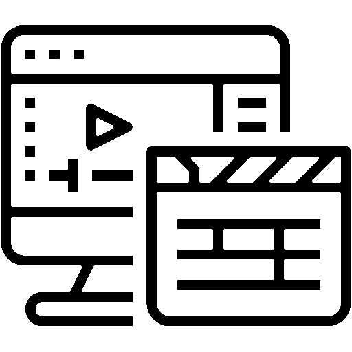 symbol of a computer screen and a clapperboard for filmmaking